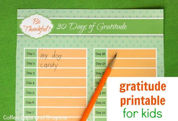Free Printable Gratitude List for Kids! An easy way to teach kids to be grateful!