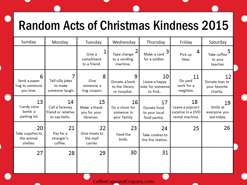 Christmas with the 2015 random acts of kindness printable calendar png