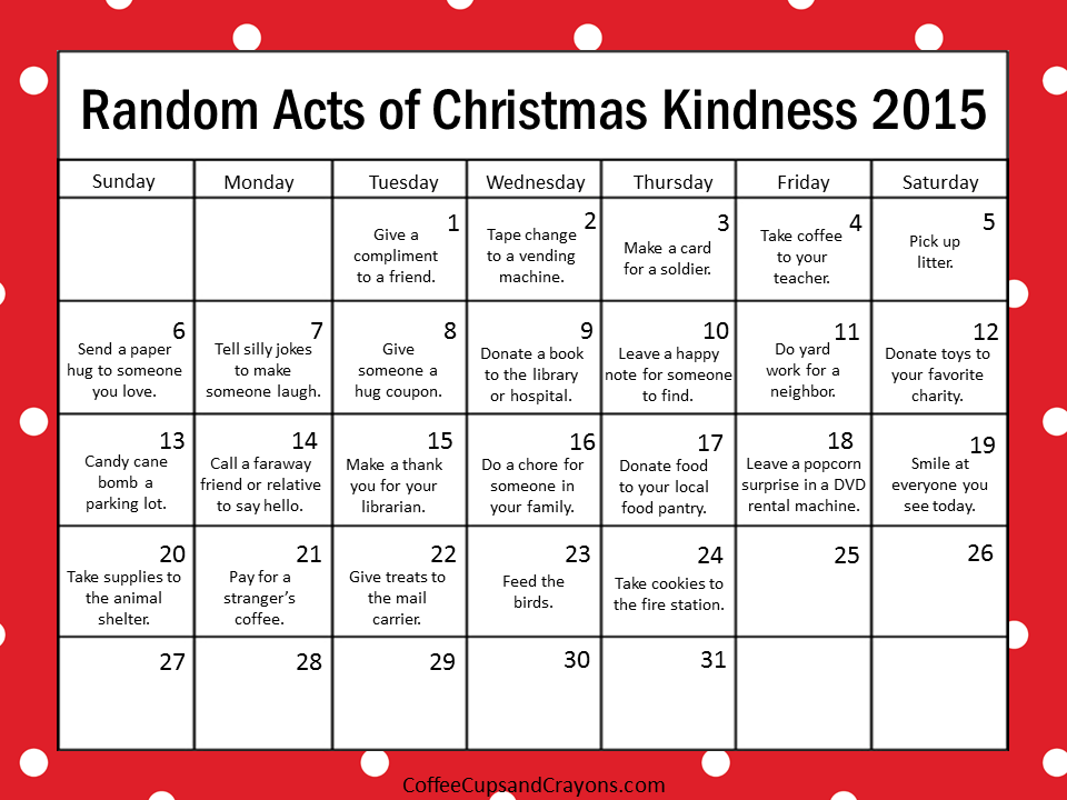 Countdown to Christmas with the 2015 Random Acts of Kindness Printable Calendar