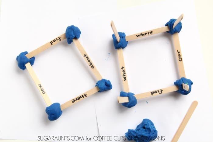 Sight word STEM play dough building activity