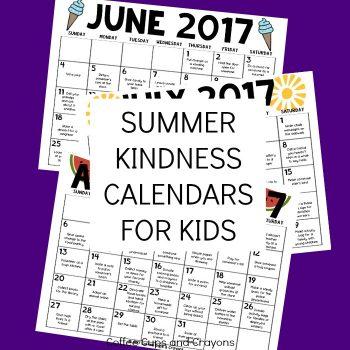 Summer Kindness Calendars for Kids