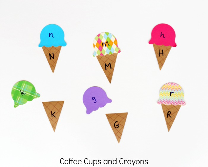 Ice Cream Cone Alphabet Matching Game for Kids--make a great busy bag!