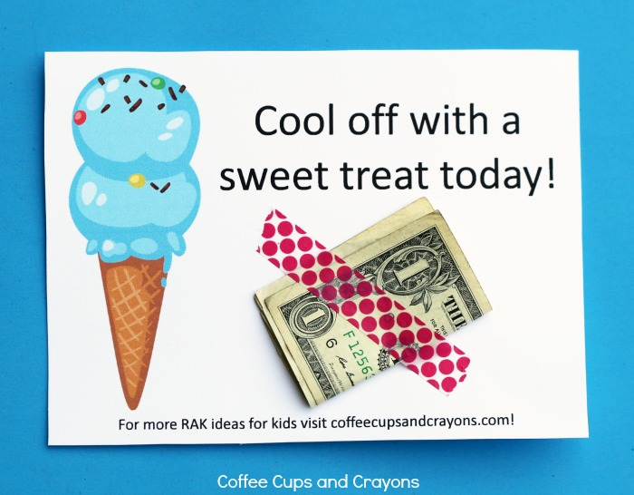 Super fun ice cream act of kindness for kids--surprise a neighbor with ice cream money! Free printable in post!