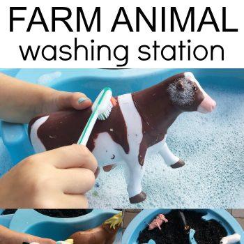 Washing Farm Animal Sensory Bin