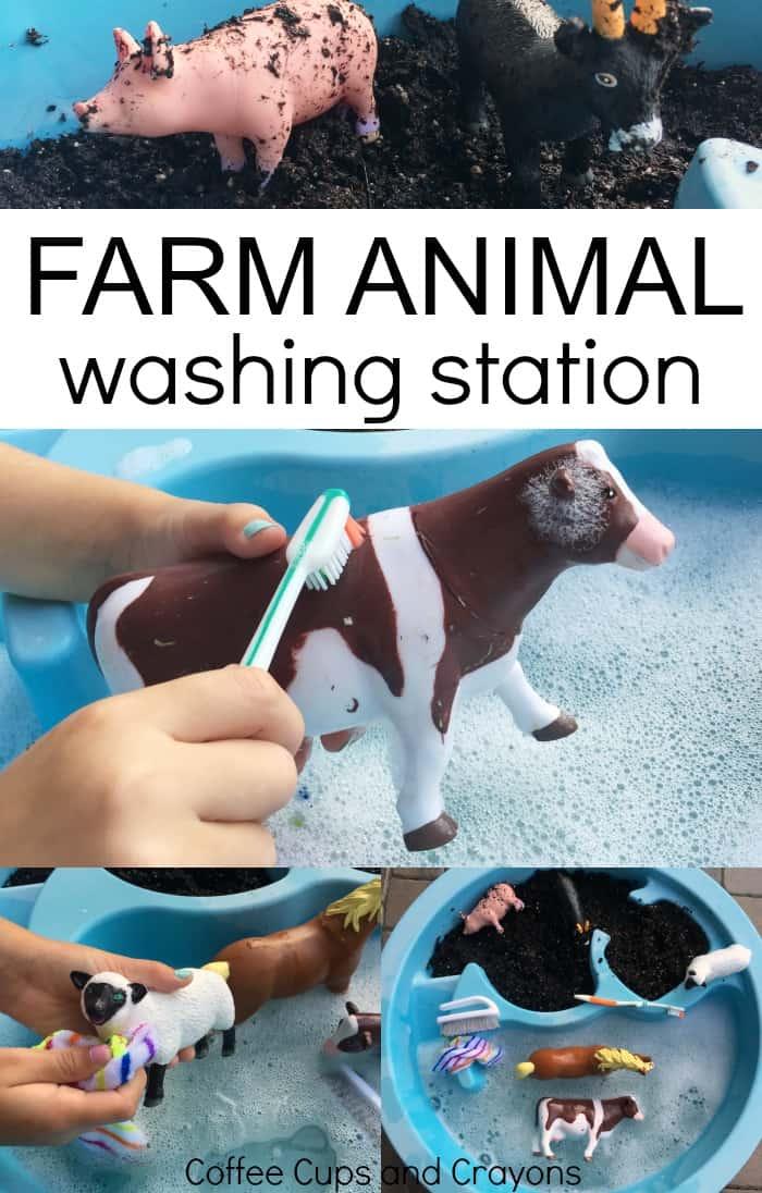 A farm animal washing station is a big hit with preschool kids! Set it up as a sensory bin today.