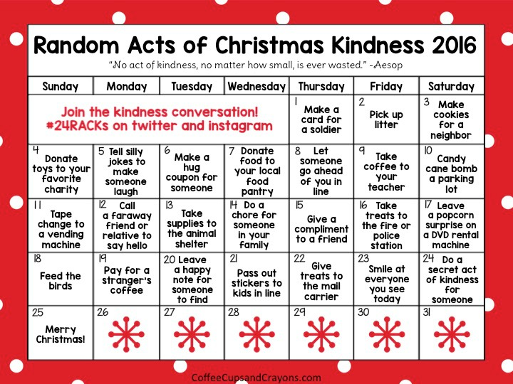 Christmas Calendar Pictures : Random acts of christmas kindness advent calendar coffee
