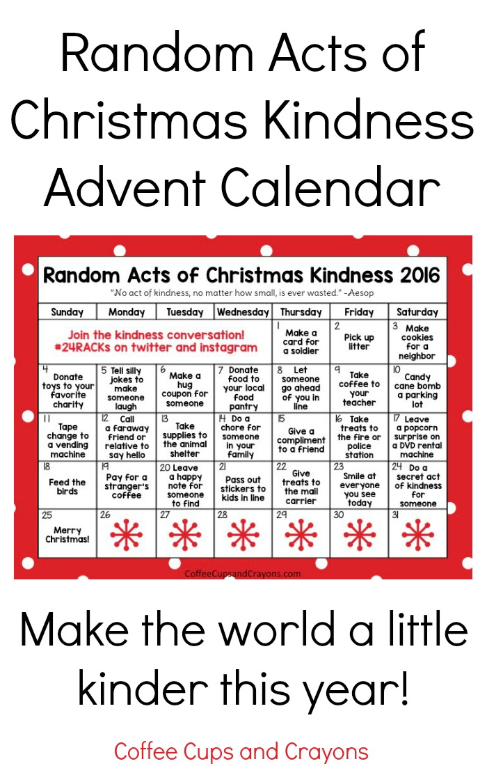 Christmas Calendar 2016 : Random acts of christmas kindness advent calendar coffee