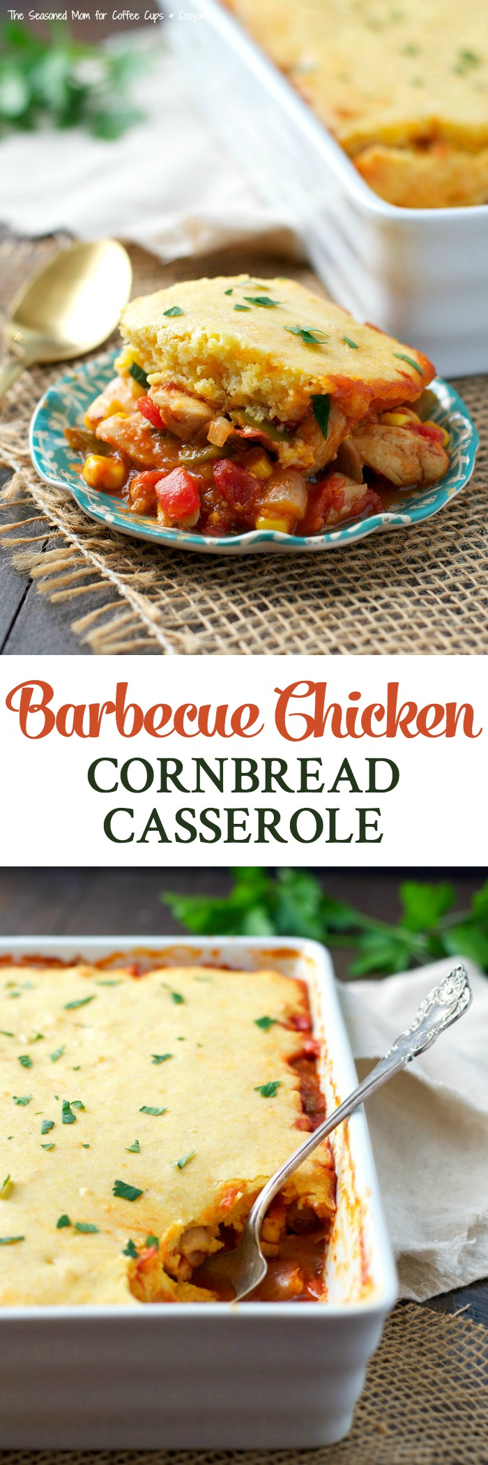 This Barbecue Chicken Cornbread Casserole is an easy dinner that comes together in just 15 minutes!