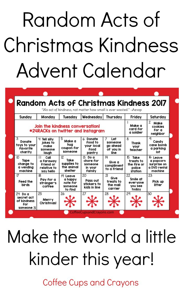 Random Acts of Christmas Kindness Advent Calendar | Coffee Cups ...