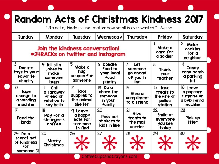 random acts of christmas kindness advent calendar coffee cups and crayons