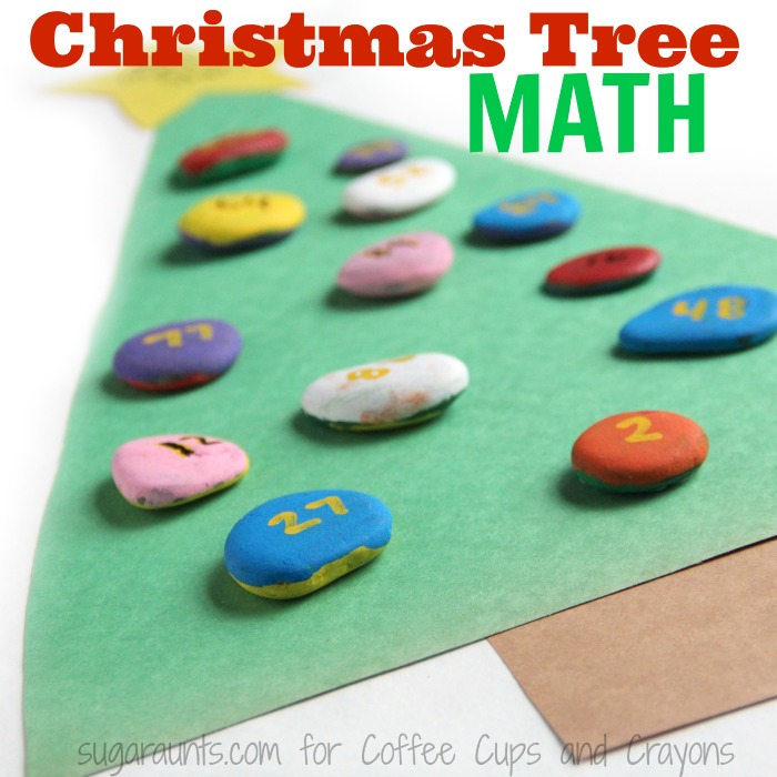 A Christmas tree math activity is fun for kids this time of year.