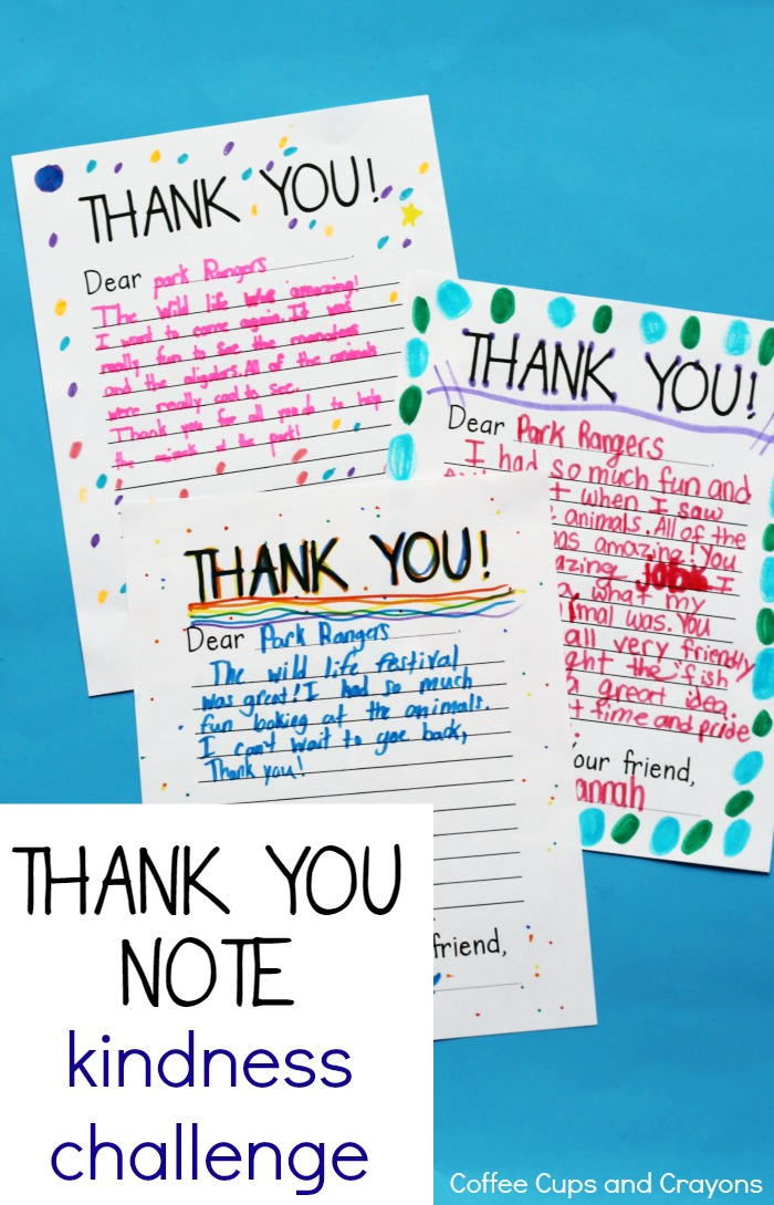 Use these free printable thank you notes to take the thank you note kindness challenge with your kids!