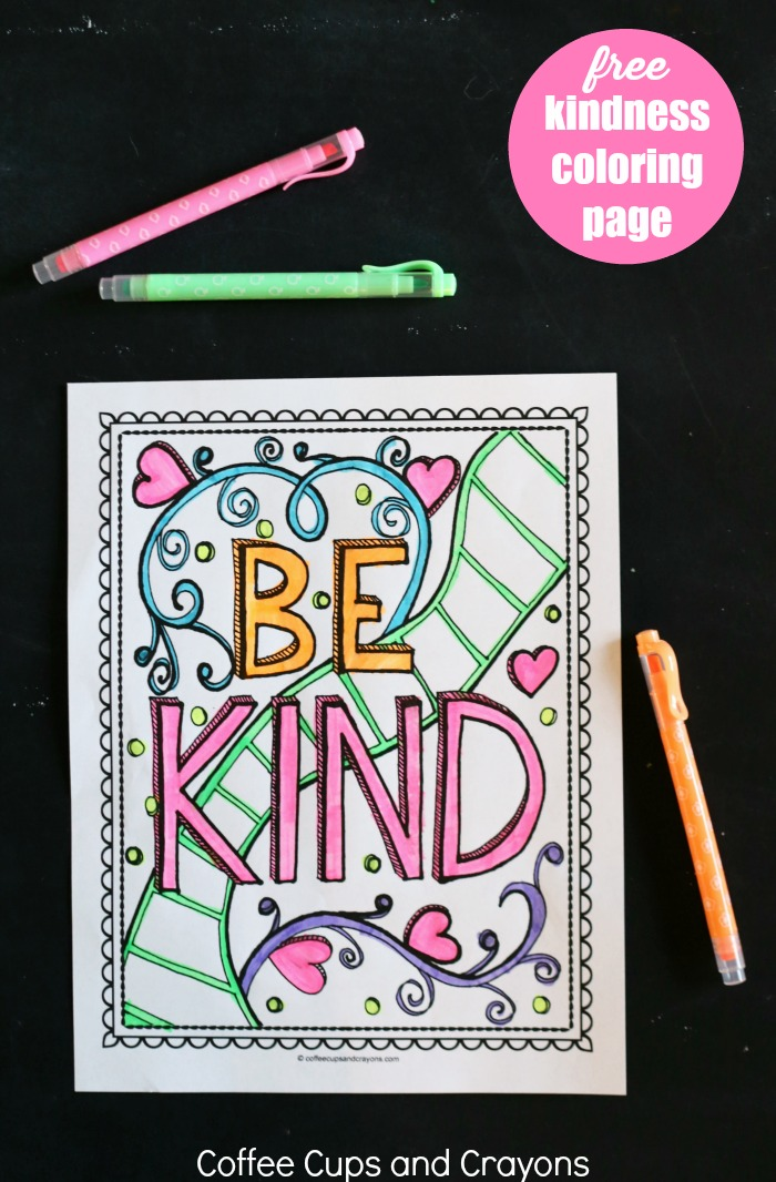 This free printable kindness coloring page is a great way to encourage kids to be kind!