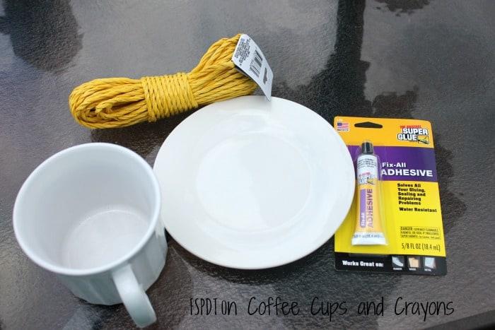 What you need to make a coffee mug bird feeder