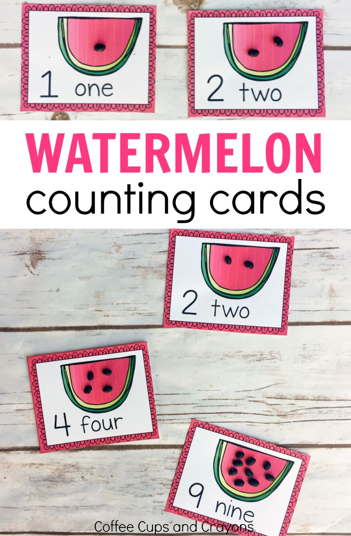 Free printable watermelon counting cards! Perfect for a preschool counting busy bag!